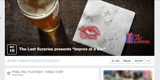 """Improv At A Bar,"" Facebook Event"