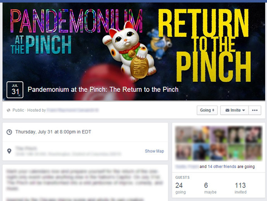 """Pandemonium At The Pinch,"" Facebook Event"