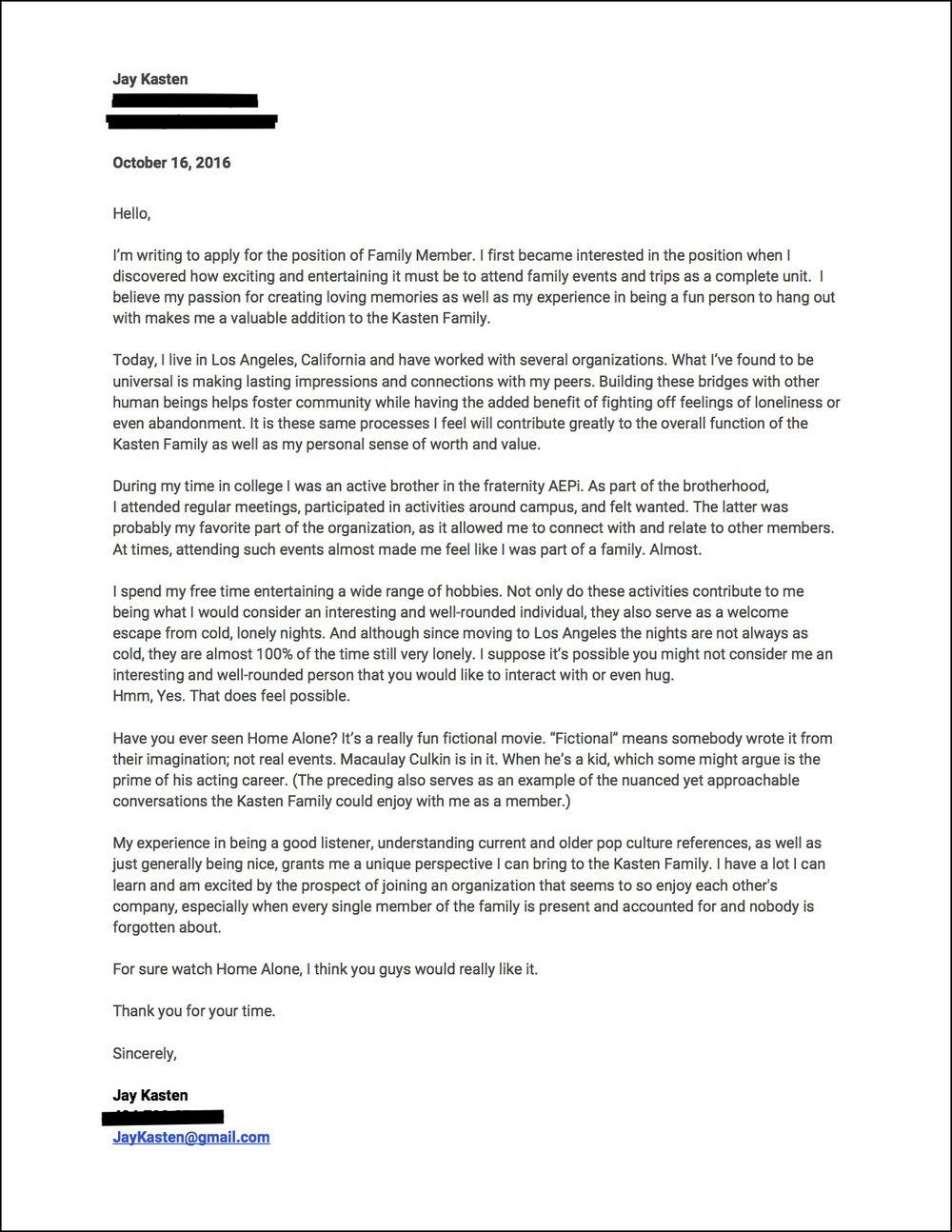 Jay Kasten's Family Member Cover Letter FRAMED.jpg
