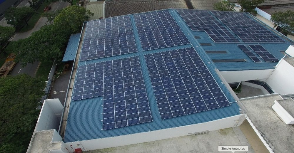 Traditional solar panels mounted on rooftop
