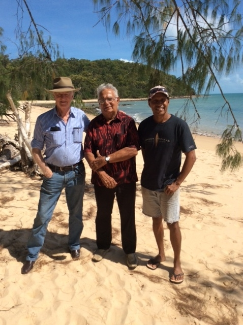 Lindsay McDowell (left) Kimberley man Rodney Rivers (centre) and Torres   Strait Pastor Titom Tamwoy (right) near Cape York