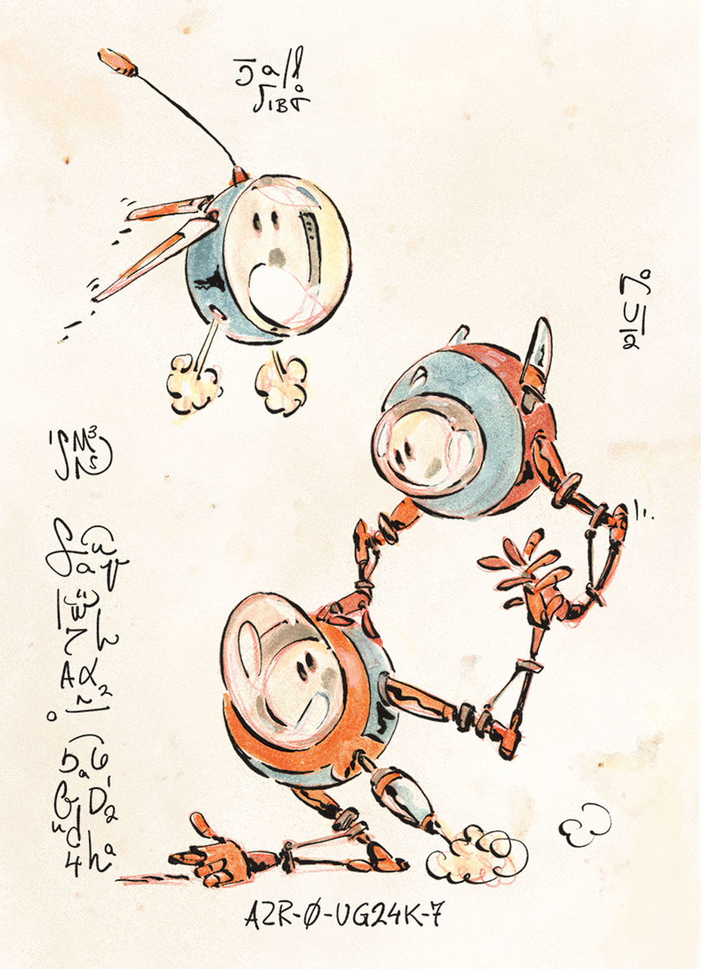 AZR-0 Robots - Book Illustration - sample page 1