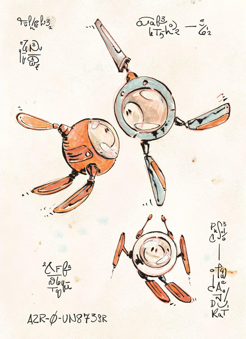 AZR-0 Robots - Book Illustration - sample page 3