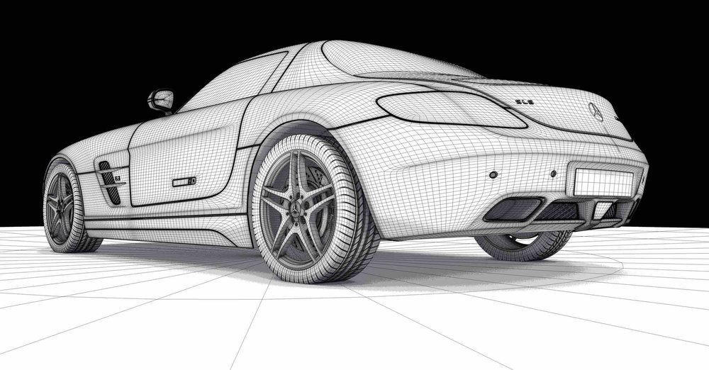 the 3d laser scanner can document the shape of a car for kitting purposes