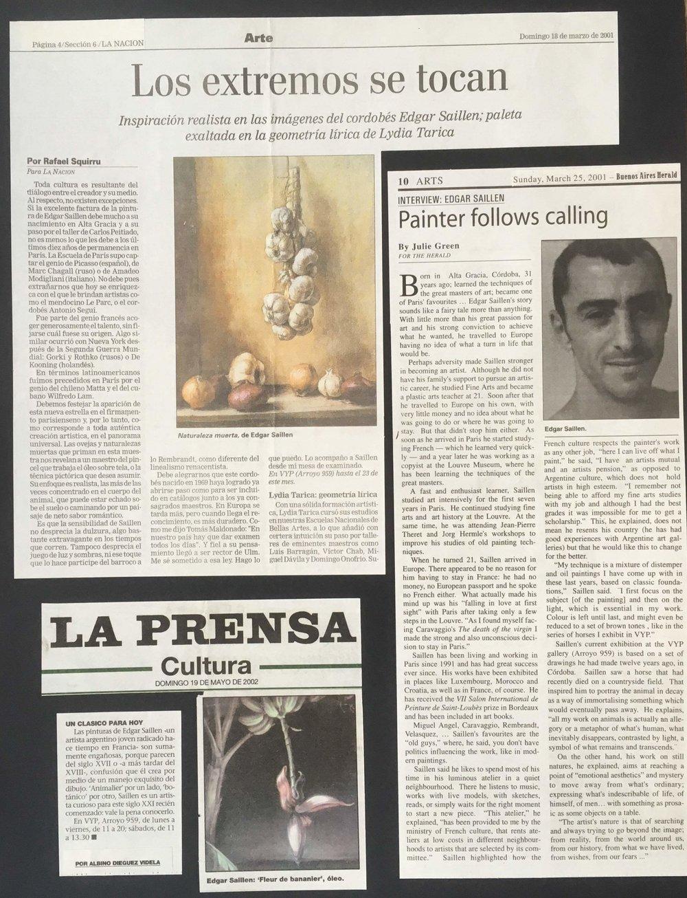 LA NACION, LA PRENSA & BUENOS AIRES HERALD 2001/2002