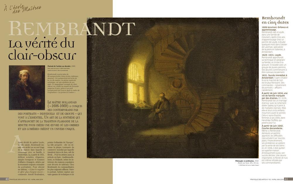 """Dossier """"Technique de Peinture de Rembrandt"""" par Edgar Saillen, publié par Pratique des Arts N°115"""