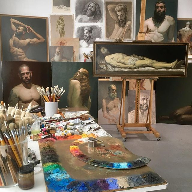 My atelier work in progress #painter #frenchartist #atelier #painting #paintingstudio #malenude #maleart #figurativeart #oilpainting
