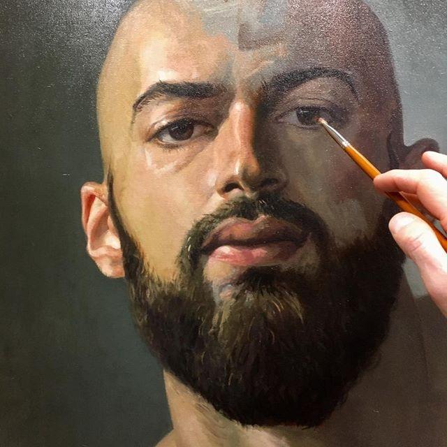 Portrait of great @son_of_greece Oil Painting on Canvas #oilpainting #portrait #realisticdrawing #portraitbycommission #figurativeart #malemodel #beard #beardedman #maleart
