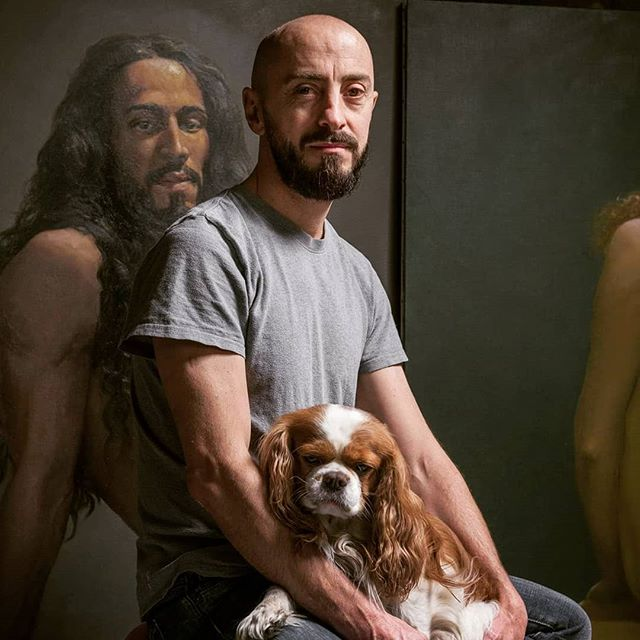 Me & my baby photo by @yanncainjo #classicalportrait #chiaroscuro #frenchartist #cavalierkingcharles