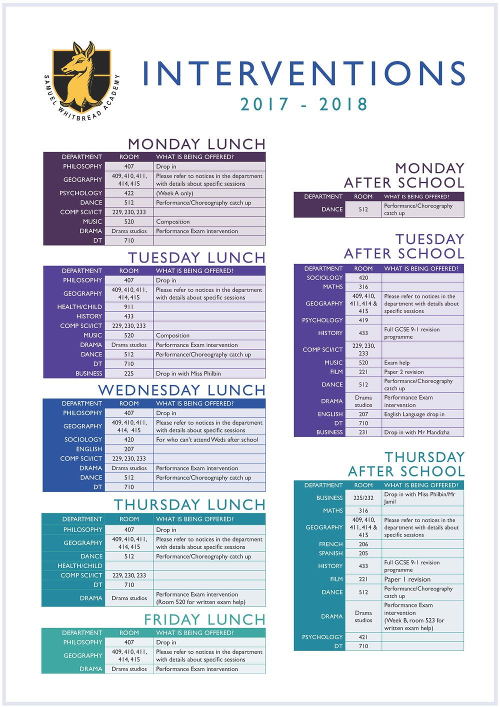or click  here  to see the full size intervention timetable.