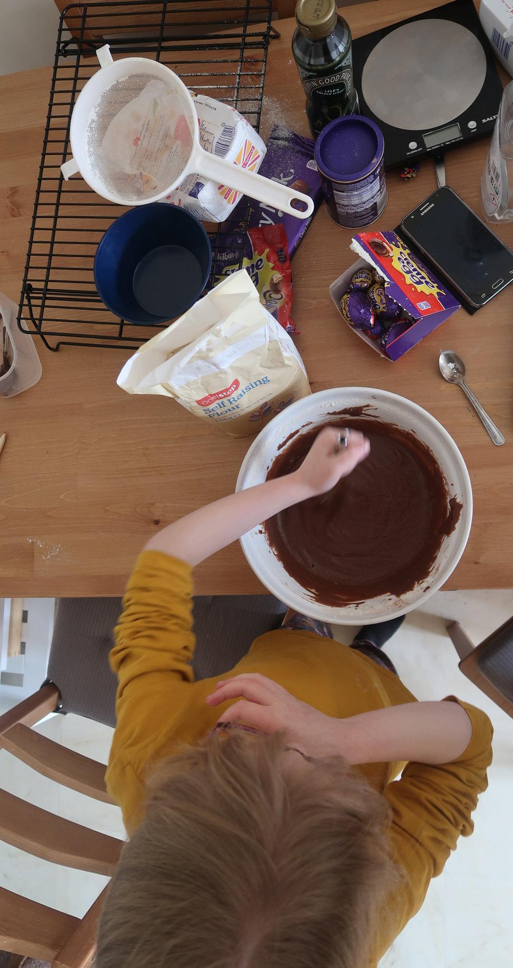 chocolate cake making for home ed