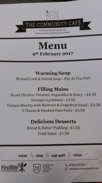 An example menu from FirstBite's community cafe