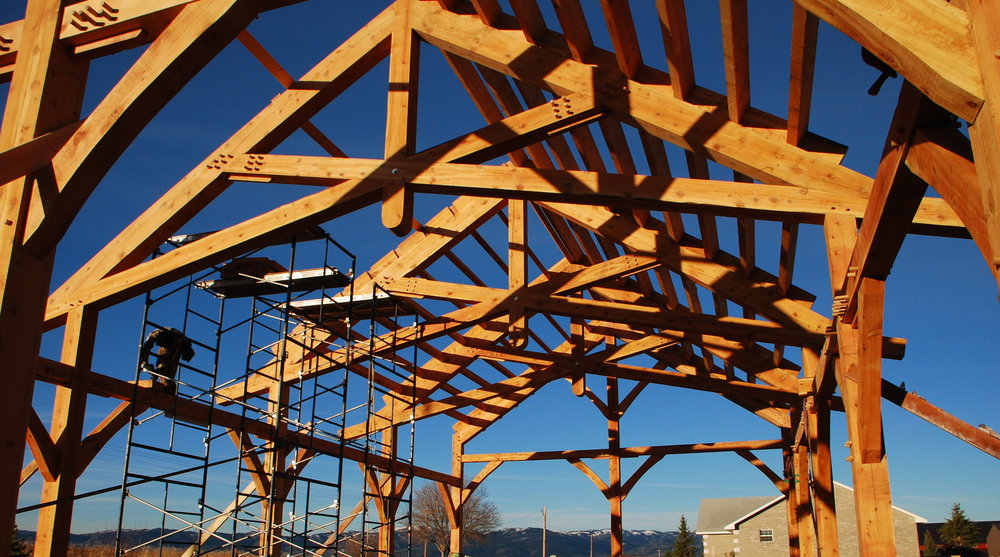 Scissor trusses over the NOLS outdoor classroom in Driggs, ID, 2009.