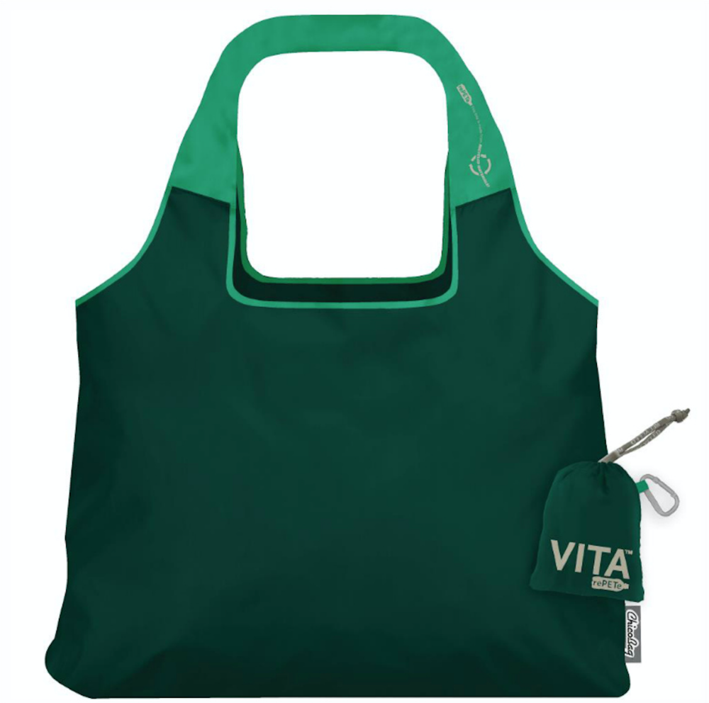 This is the ChicoBag Vita rePETe bag and it is made out of 99% recycled materials. It packs up super small into a little bag the size of your fist, making it great for travel or to store in your purse so you never forget to bring your reusable bags to the grocery store.