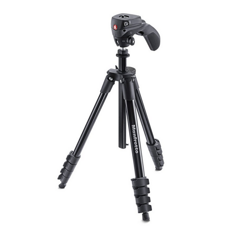 This tripod extends to over 5 feet tall and makes it super easy tilt the camera while it's on. It also comes with an attachment so you can mount a phone on it and a bag to make it easy to carry. This works with small cameras but can also support the weight of bigger ones like the Canon 80D.