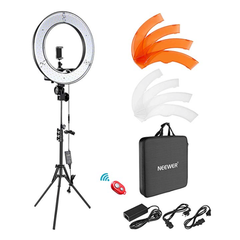 I should've gotten one of these a long time ago so I could film in my dark basement room but I guess better late than never! It has a nice dimmer switch, carrying case, and white and orange color filter snap on things which gives you the option between cool and warm lighting.