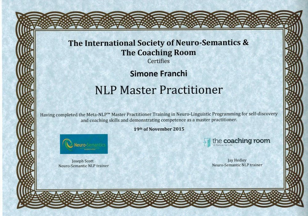NLP Master practitioner certification