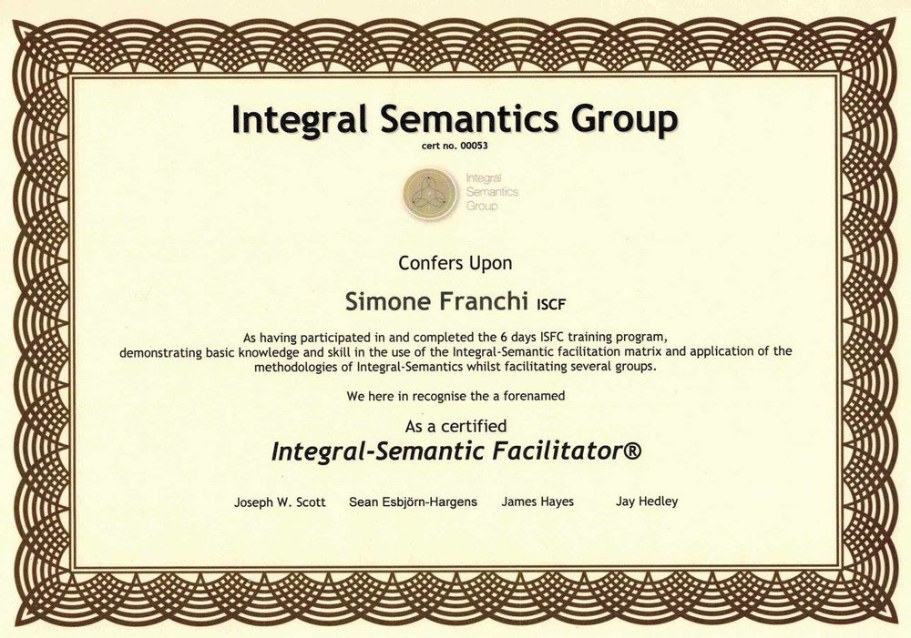 INtegral semantic facilitator certification