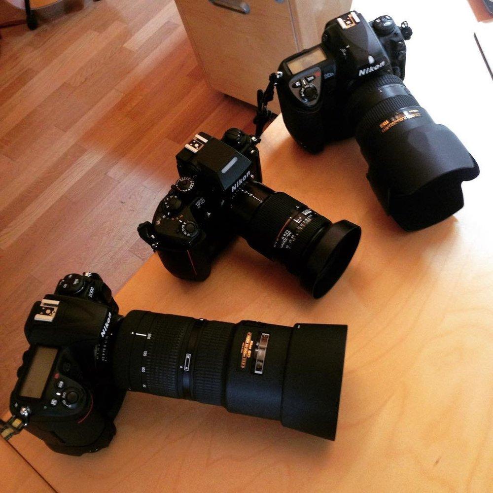 Nikon D2Xs, Nikon D300 + Nikon F4