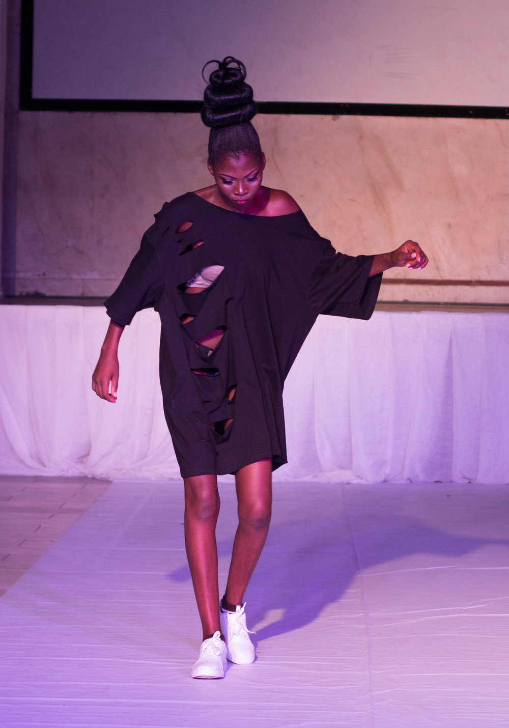 Nigerian Model @ The Eleventh Fashion Show wearing VonRay Designs Distressed Tee Dress ;PHOTOGRAPHER- Ebiye Wilson Jeke of Wilson Photography (@wilsonjekephotography)