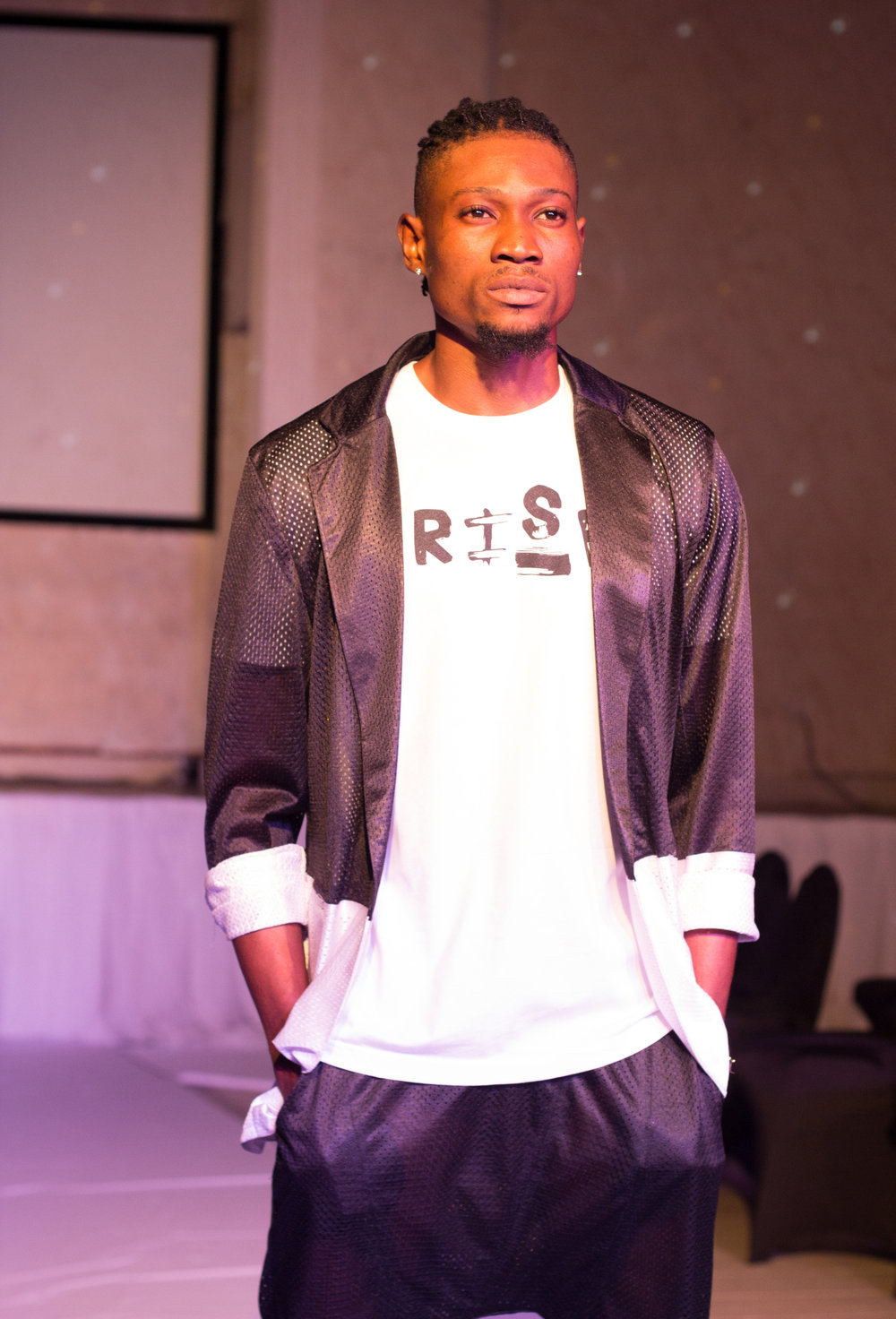 Sisco ( @6cojohn) Mr. University Africa 2015, Best Male Model Award Winner of TEFS 2016 and Finale Model for VonRay Designs; Mesh Blazer and Drop Crotch Joggers Designed and Made by VonRay Designs & RISE Tee by 4Leaders/Hyjack Works; PHOTOGRAPHER- Ebiye Wilson Jeke of Wilson Photography (@wilsonjekephotography)