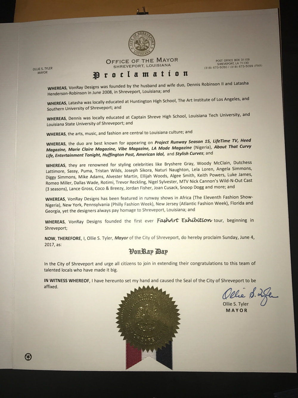 Official Proclamation for VonRay Day on June 4