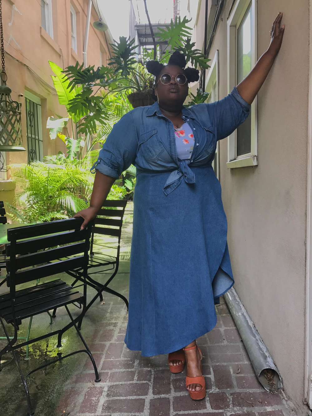 Denim Cha-Floral Crop (under) that I made, Lane Bryant button-up (tied up) & a Denim Wrap Skirt, Gold Rings from H&M, Eyewear stolen from Dennis, Shoes from Torrid Photo by Dennis Robinson II