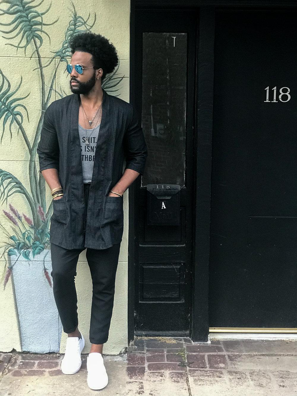 Denim Kimono: Seizt Tank: Dennis' Closet Pants: Zara Shoe: Converse