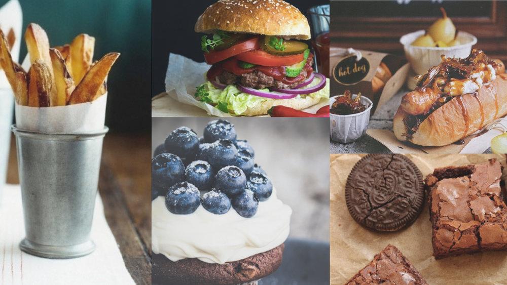 AmericanFood #food #america #oreo #hamburger #hotdog #cupcake #frenchfries #moodboard