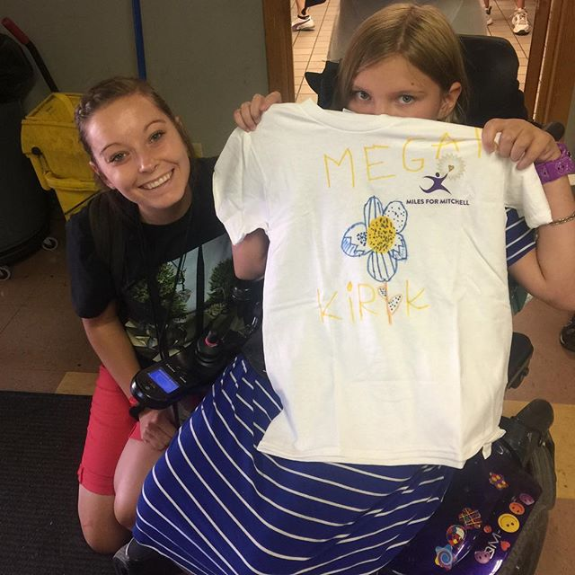 Meg spent a lot of time working on her shirt.  They missed the tye dying part but they were able to use markers.  Hope they had a fun time at camp 💜!! We love supporting and being apart of it!!