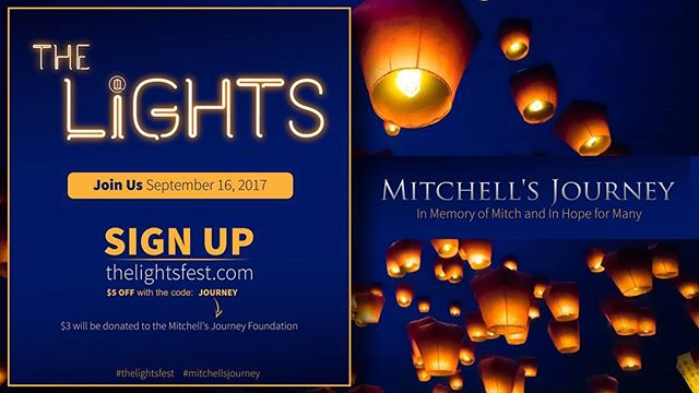 If you're in Northern Utah and have been thinking about attending The Lights celebration, this is your chance! Here is a discount code that not only helps you but helps @mitchells_journey, too. Come join other Mitchell's Journey followers on September 16th!  See you there!