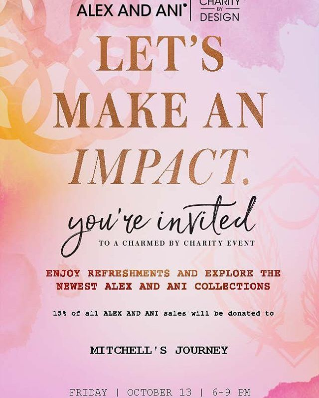 If you're in Utah, come join us next Friday, from 6-9 pm, at Alex & Ani on 51 Main St in Salt Lake City. They'll donate 15% of their sales to @mitchells_journey! We look forward to seeing you. 💜 #AlexAndAni  #Charity #MitchellsJourney