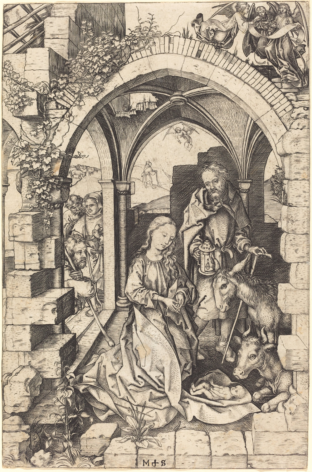 Martin Schongauer (German, c. 1450–91), The Nativity. From the collection of the National Gallery of Art, Washington.