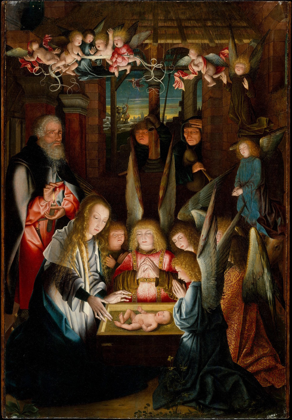Follower of Jan Joest of Kalkar (fl. 1515), The Adoration of the Christ Child, Metropolitan Museum of Art, New York.