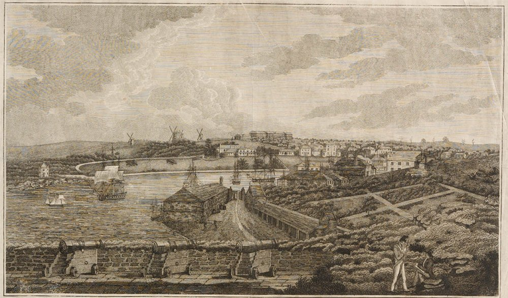 'A view of the cove and part of Sydney, New South Wales: taken from Dawe's Battery', from  Plates for James Wallis: Australian Views—historical account of the colony of New South Wales, 1817–1819 . Mitchell Library, State Library of New South Wales.