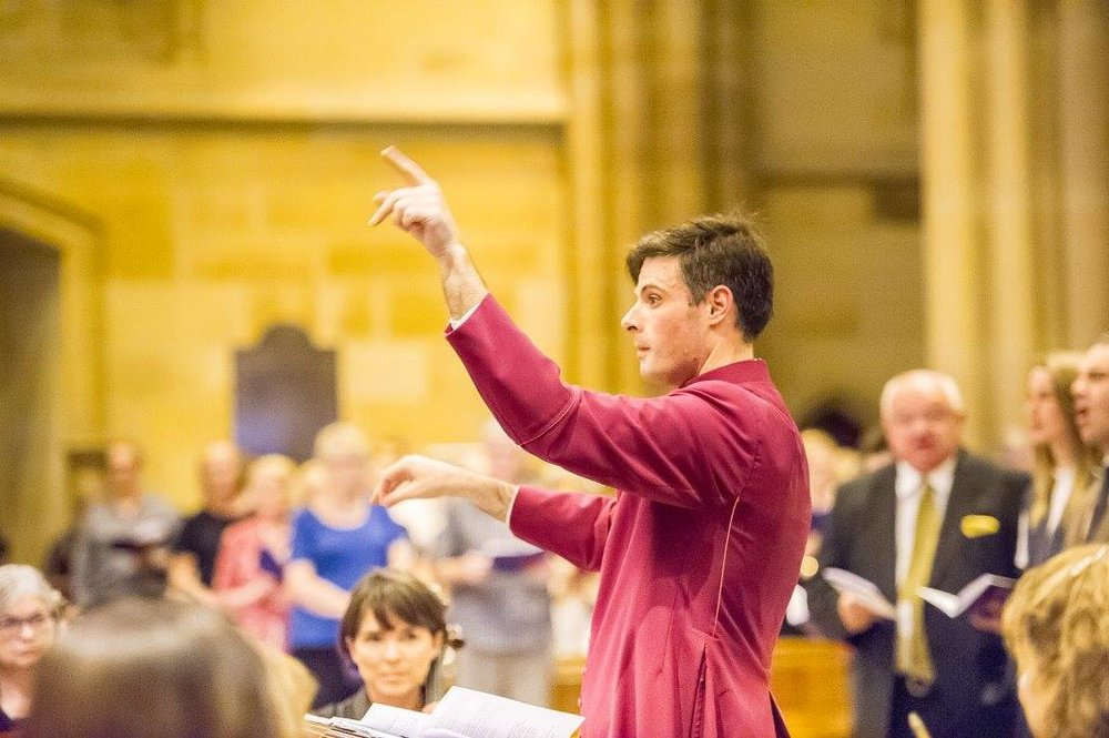 Thomas Wilson conducting in St Mary's Cathedral, Sydney