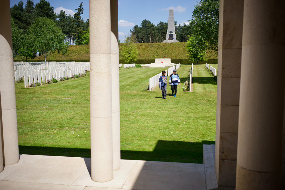 Samuel and Noah at Polygon Wood Cemetery.