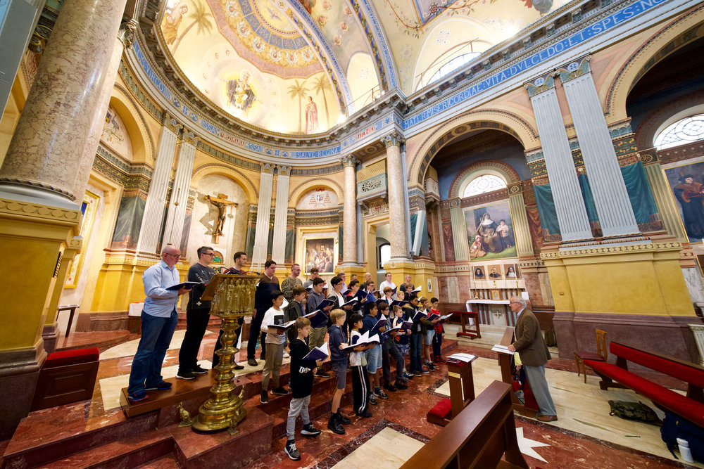 Saint Mary's Cathedral Choir at a Masterclass with Stephen Cleobury, in the chapel of Domus Australia, Rome.