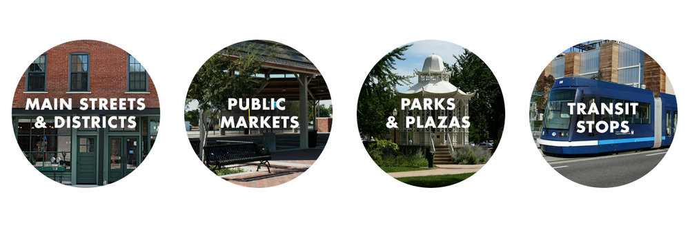 Outdoor audio and visual systems for Main Streets & Districts, Public Markets, Parks & Plazas, and Transit Stops by Vox Audio Visual.