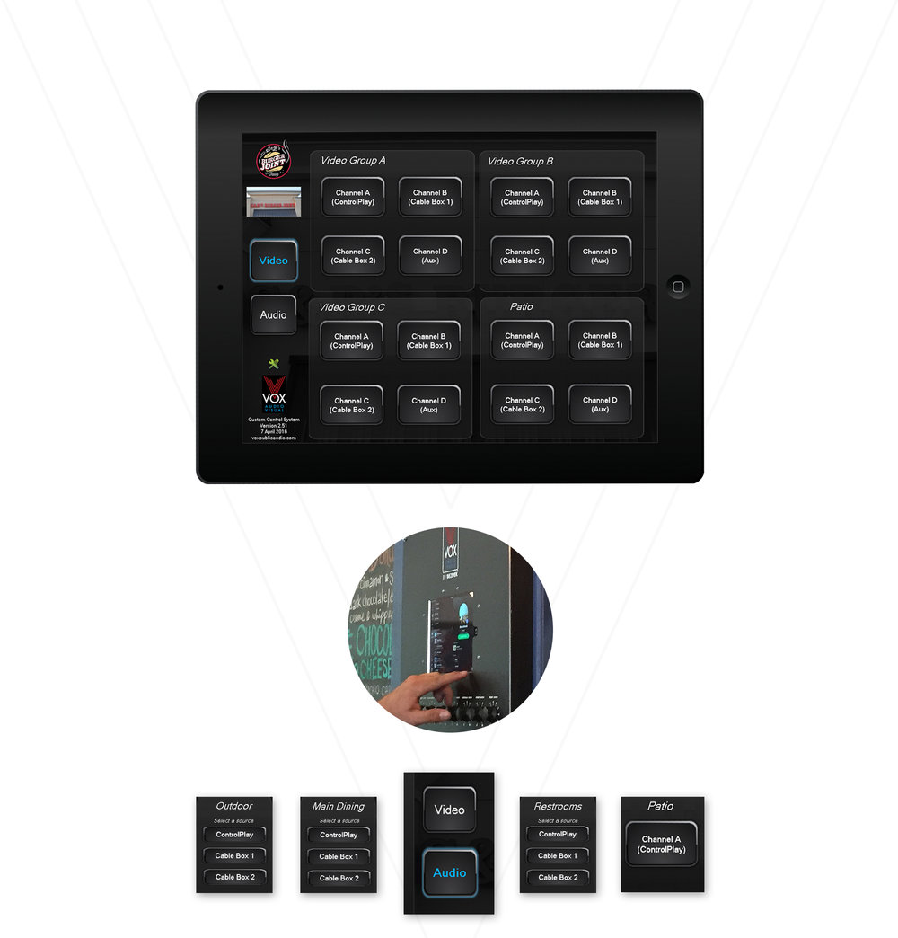Our zone control panels allow you to control audio and video by zones within your restaurant.
