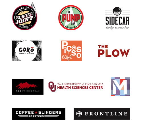 Our clients include S&B's Burgers, University of Oklahoma and Coffee Slingers