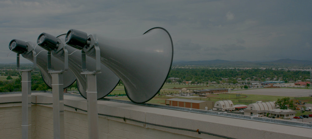 Mass notification warning system speakers for public institutions