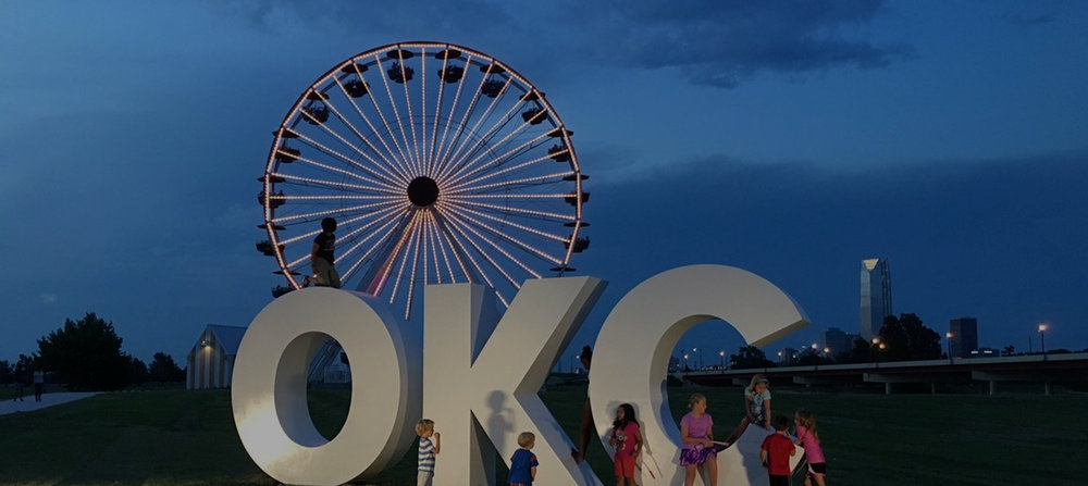 Outdoor lighting audio and visual for Oklahoma City Ferris Wheel in Wheeler District, Oklahoma City