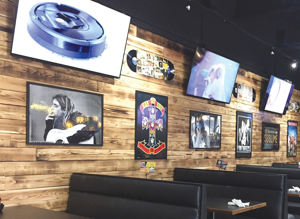 Restaurant TV wiring and installation  - S&B's Burgers, Mustang, OK