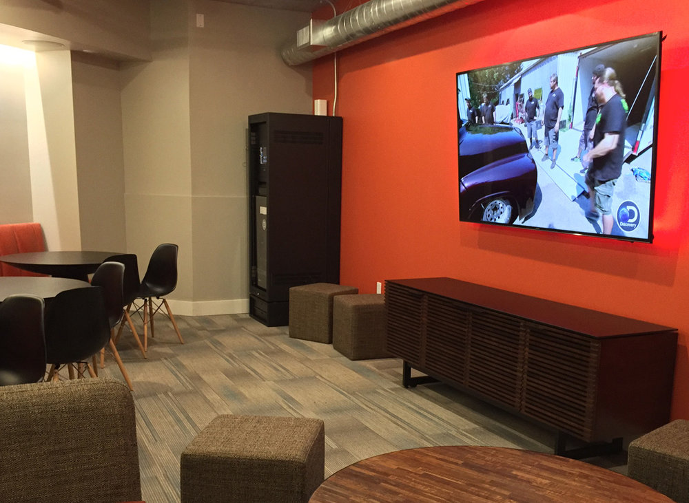 backlit HDTV installation for commercial and residential spaces. The Lift Apartments, Oklahoma City