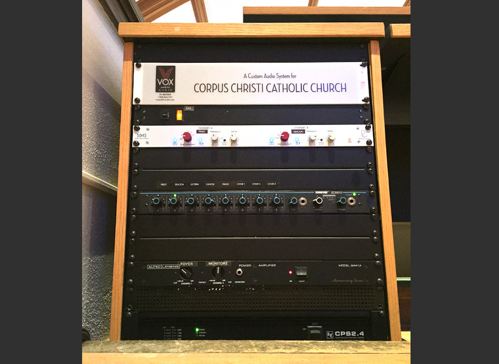 Voiced Audio Systems control rack for Corpus Christi Church, Oklahoma City