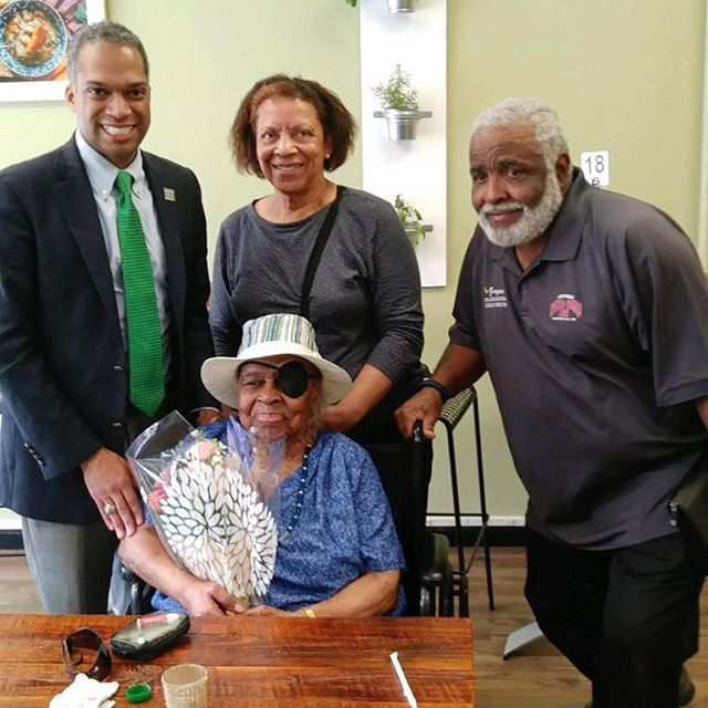 Willie Mae Avery is 103 years old and celebrated her birthday at Soup Up today with @brandonttodd! We truly love our customers!
