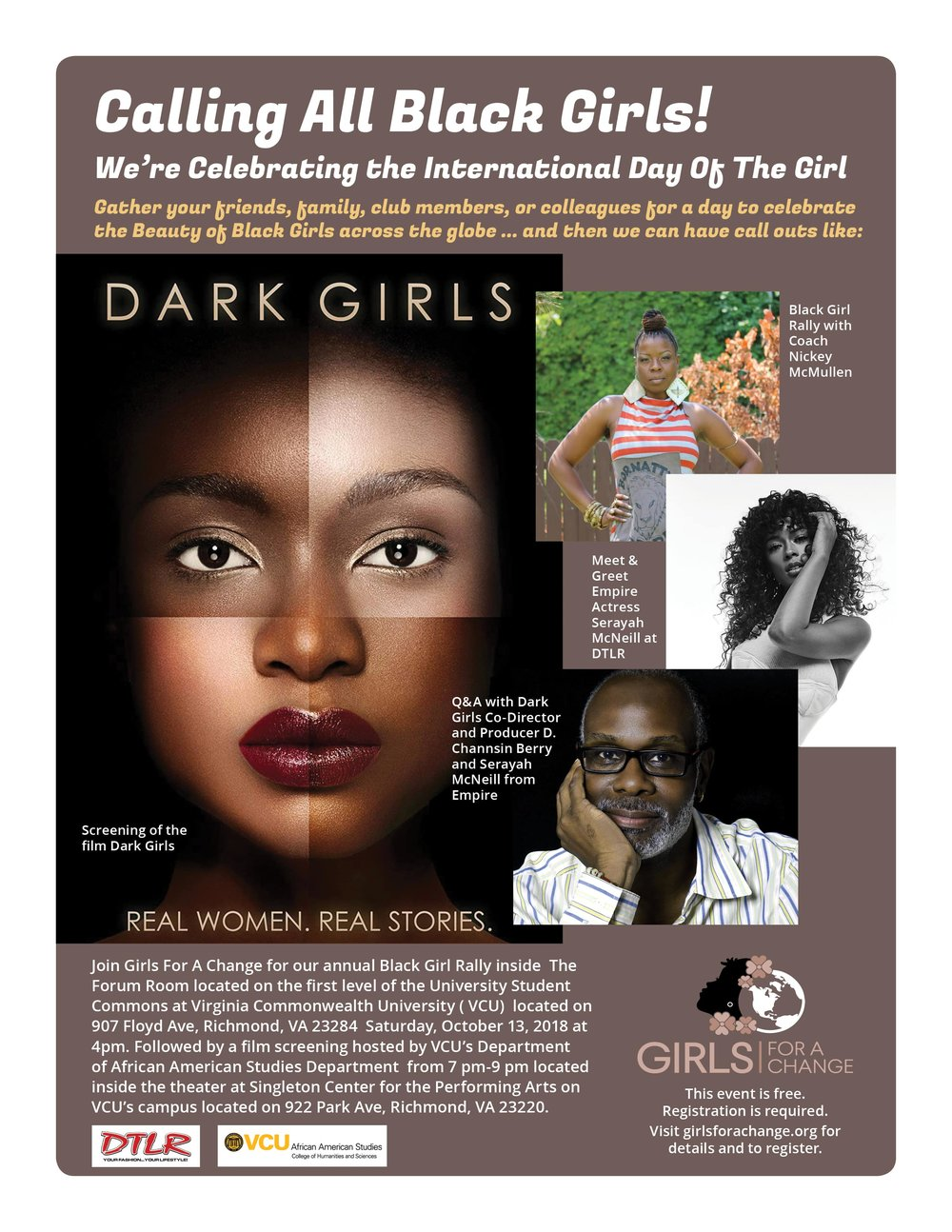 BLACK GIRL RALLY AND FREE FLIM SCREENING - WHEN: SATURDAY, OCTOBER 13, 2018TIME: 4 pm- 9 pmWHERE: 907 Floyd Avenue Richmond, VA 23284