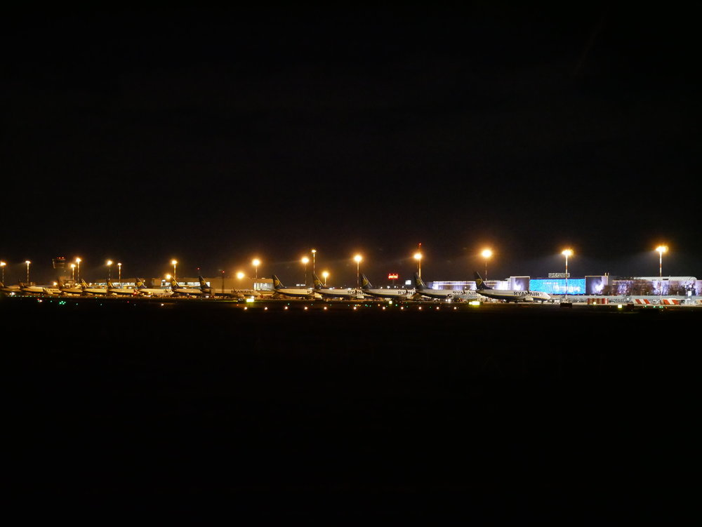 Bergamo Airport at night distant.jpg
