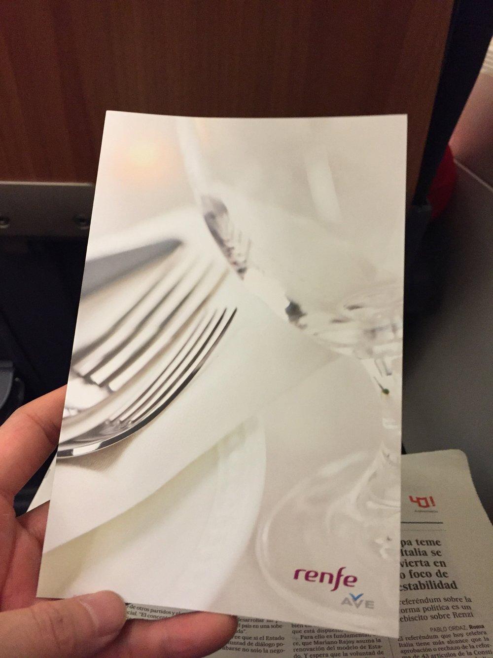 AVE dinner menu